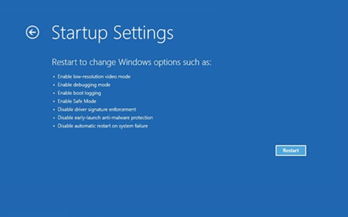 blue screen of death startup settings